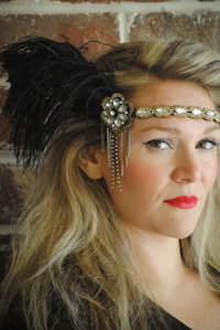 Lois Jeweled Feather Headband