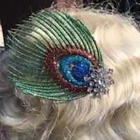 Bergman Glitter Peacock Fascinator Comb